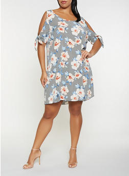 Plus Size Striped Floral Cold Shoulder Dress - 9476054263586