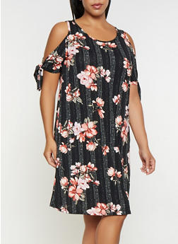 Plus Size Printed Cold Shoulder Dress - 9476054263587