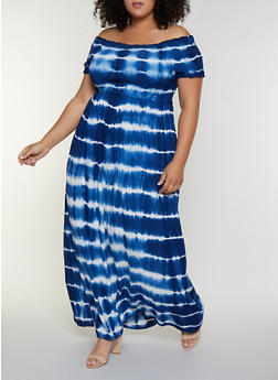Plus Size Off the Shoulder Tie Dye Maxi Dress - 9476056122054
