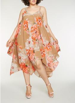 Plus Size Floral Sharkbite Hem Dress - 9476056122695