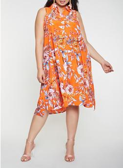Plus Size Floral Shirt Dress - 9476056125485