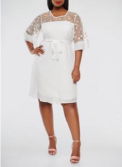 Plus Size Embroidered Mesh Yoke Dress - 9476056125574