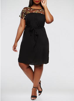 Plus Size Embroidered Mesh Short Sleeve Dress - 9476056125755