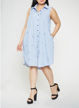 Plus Size Martini Glass Embroidered Shirt Dress - 9476056125830