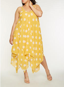 Plus Size Polka Dot Maxi Dress - 9476056125873