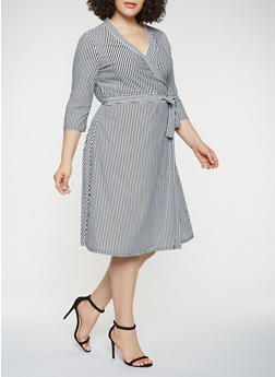 Plus Size Striped Faux Wrap Dress - 9476056126206
