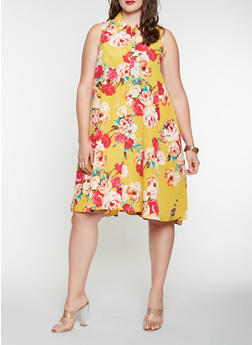 Plus Size Floral Shirt Dress - 9476056127485