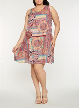 Plus Size Printed Trapeze Dress - 9476063509128