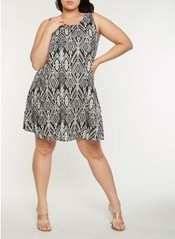 Plus Size Geometric Print Shift Dress - 9476063509138