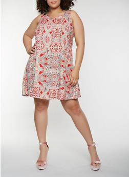 Plus Size Printed Tank Dress - 9476063509148