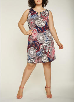 Plus Size Printed Tank Dress - 9476065241135