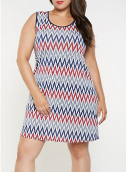 Plus Size Abstract Print Tank Dress - 9476065242466