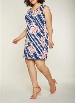 Plus Size Floral Striped Tank Dress - 9476065244651