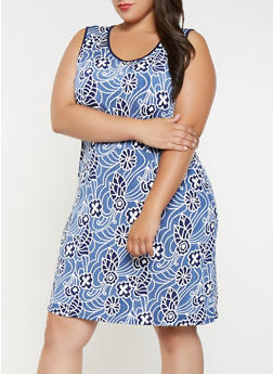 Plus Size Printed Tank Dress - 9476065245131