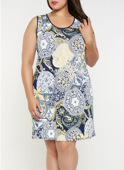 Plus Size Printed Tank Dress - 9476065246453