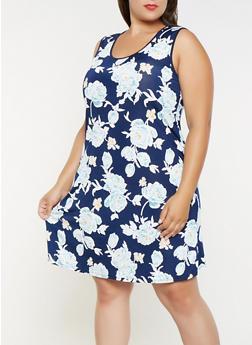 Plus Size Printed Tank Dress - 9476065246453