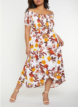 Plus Size Floral Off the Shoulder Dress - 9476074180002