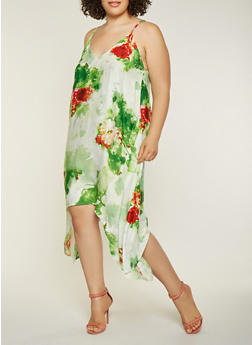 Plus Size Floral Asymmetrical Dress - 9476074181202