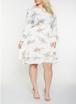 Plus Size Floral Gauze Knit Skater Dress - 9476074181248