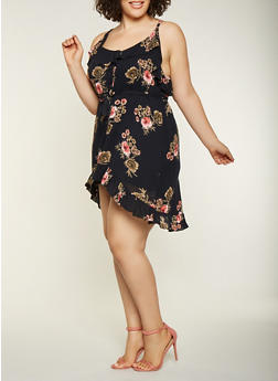 Plus Size Floral Ruffle High Low Dress - 9476074181322
