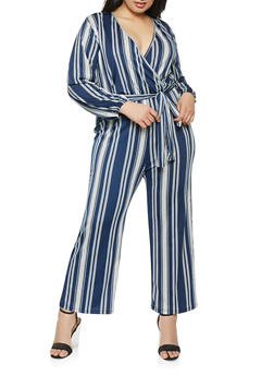 Plus Size Faux Wrap Long Sleeve Jumpsuit - 9478074281915