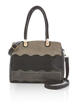 Faux Leather Waves Satchel Bag - 9502073610076