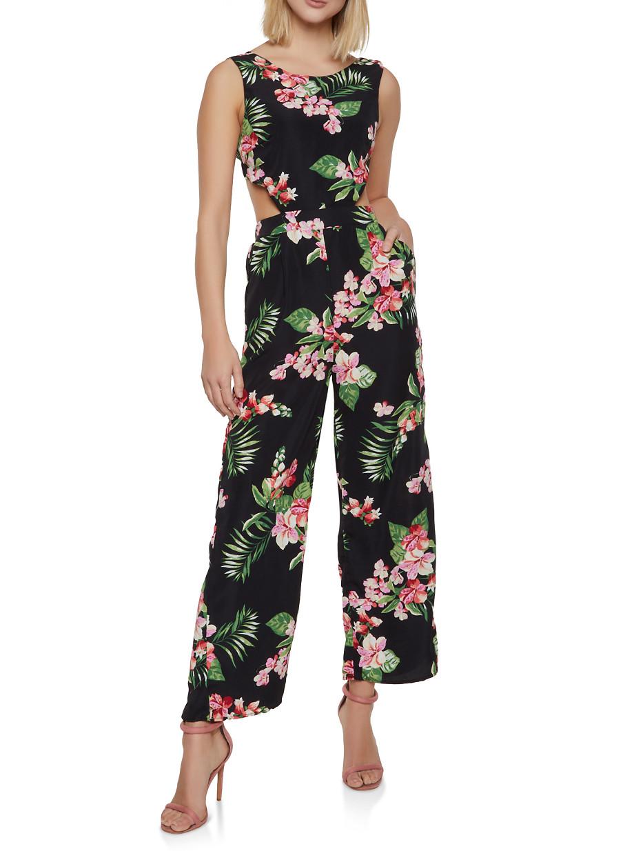 a3f965c24ba Cut Out Tie Back Floral Jumpsuit - Rainbow