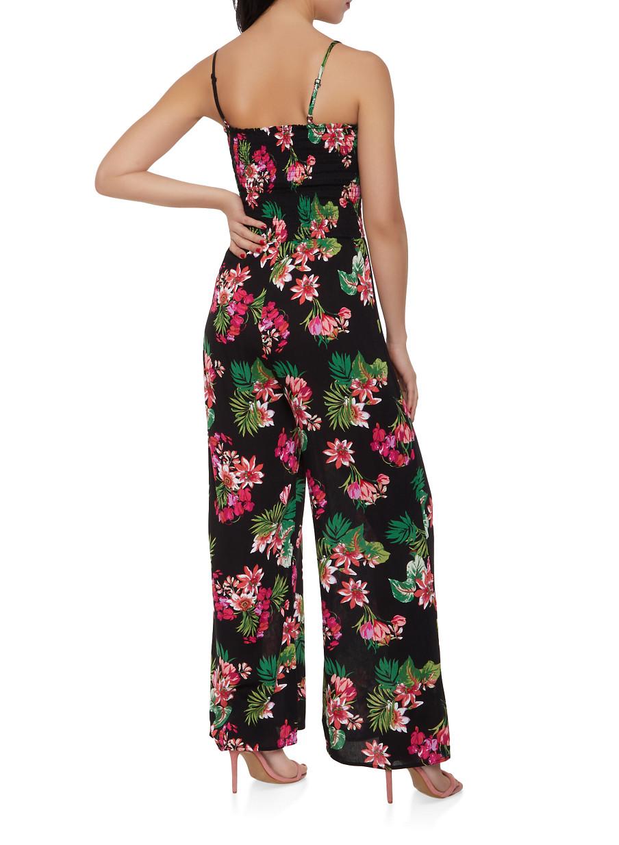 e40f125a3fb Smocked Floral Wide Leg Jumpsuit - Rainbow