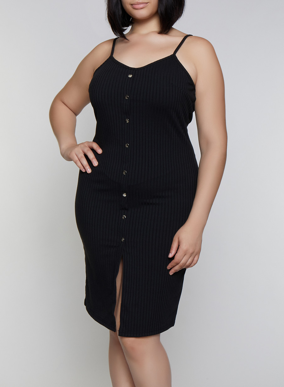 Plus Size Rib Knit Button Cami Dress - Rainbow