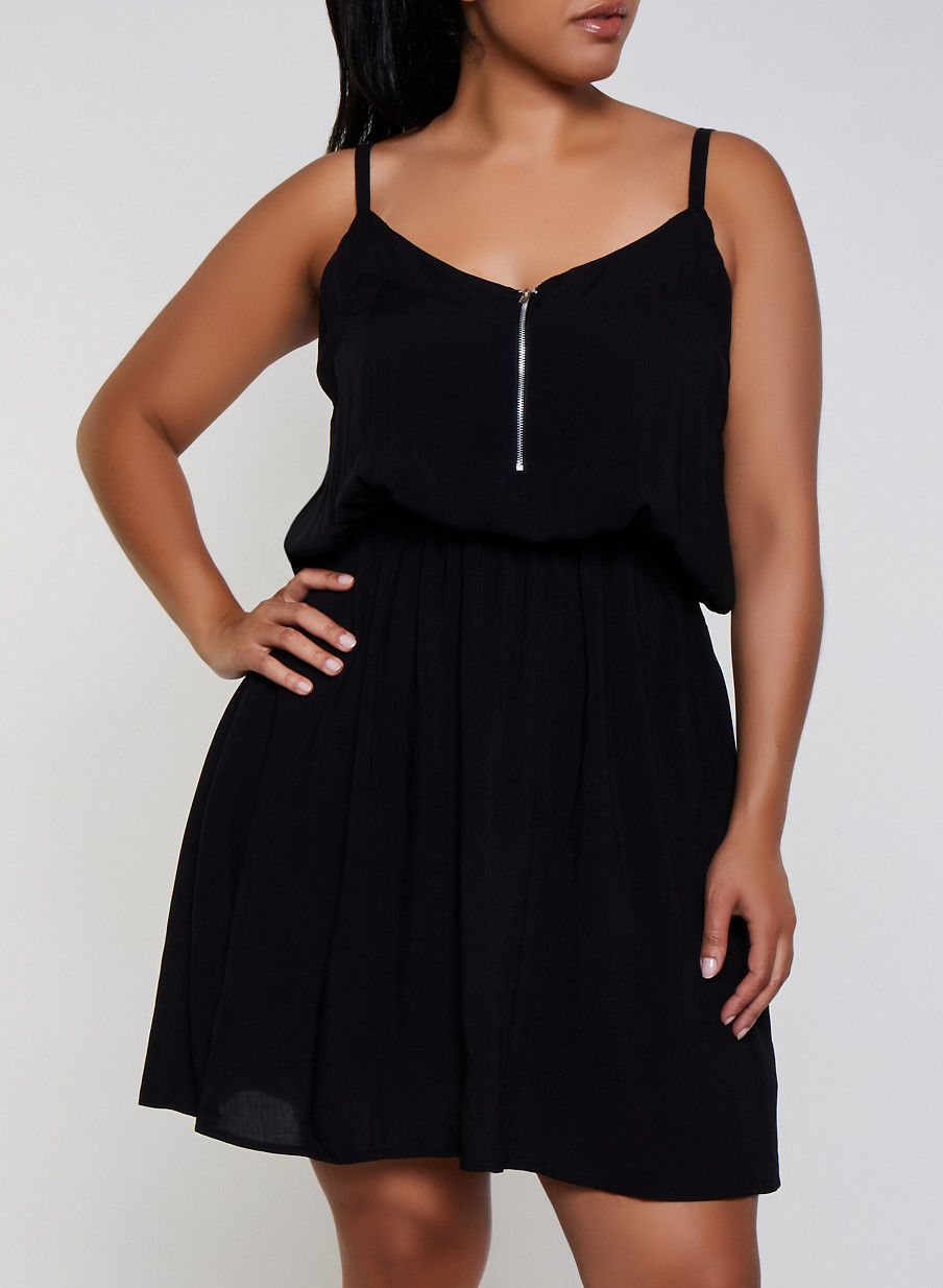 Plus Size Zip Neck Cami Skater Dress