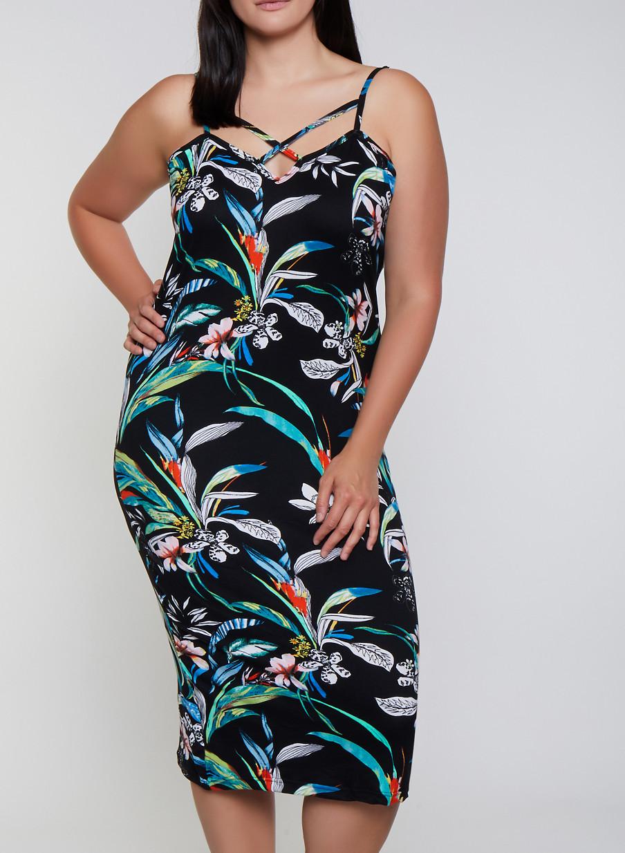 Plus Size Floral Caged Neck Cami Dress - Rainbow