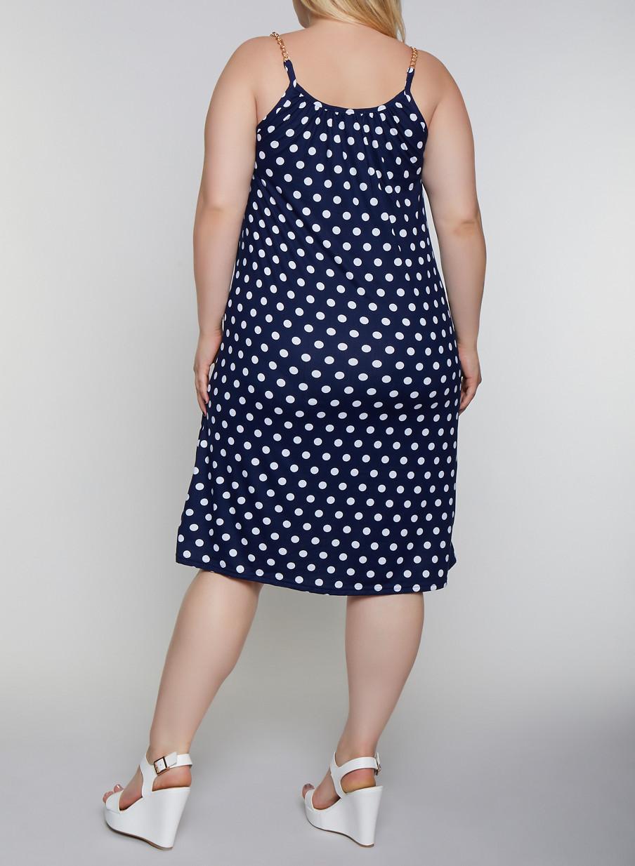 Plus Size Chain Strap Polka Dot Cami Dress