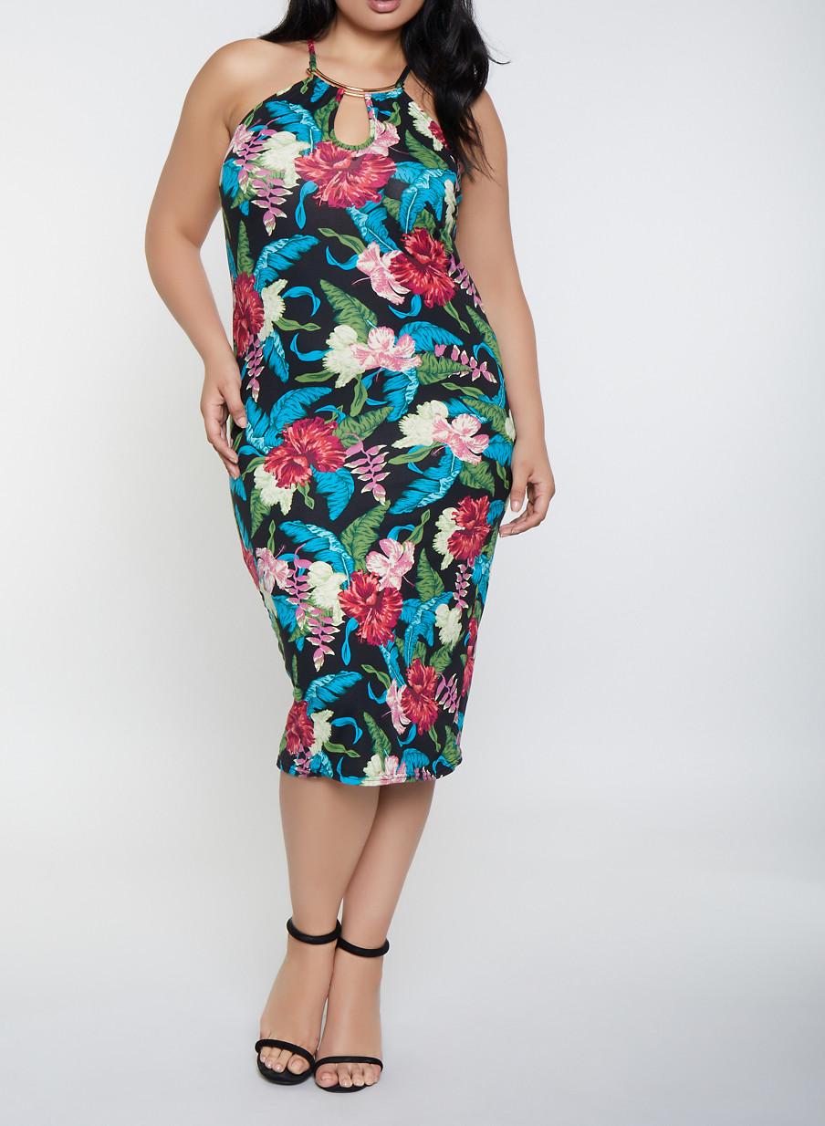 Plus Size Metallic Neckline Floral Tank Dress