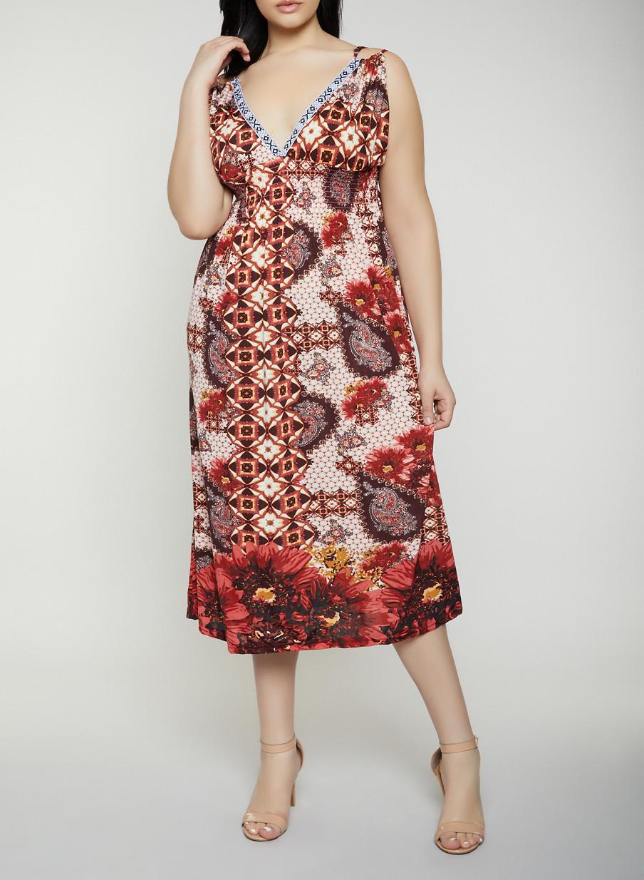 Plus Size Printed Empire Waist Dress - Rainbow