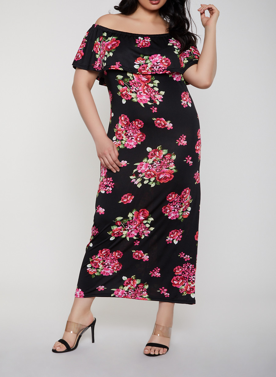 Plus Size Ruffled Off the Shoulder Floral Maxi Dress