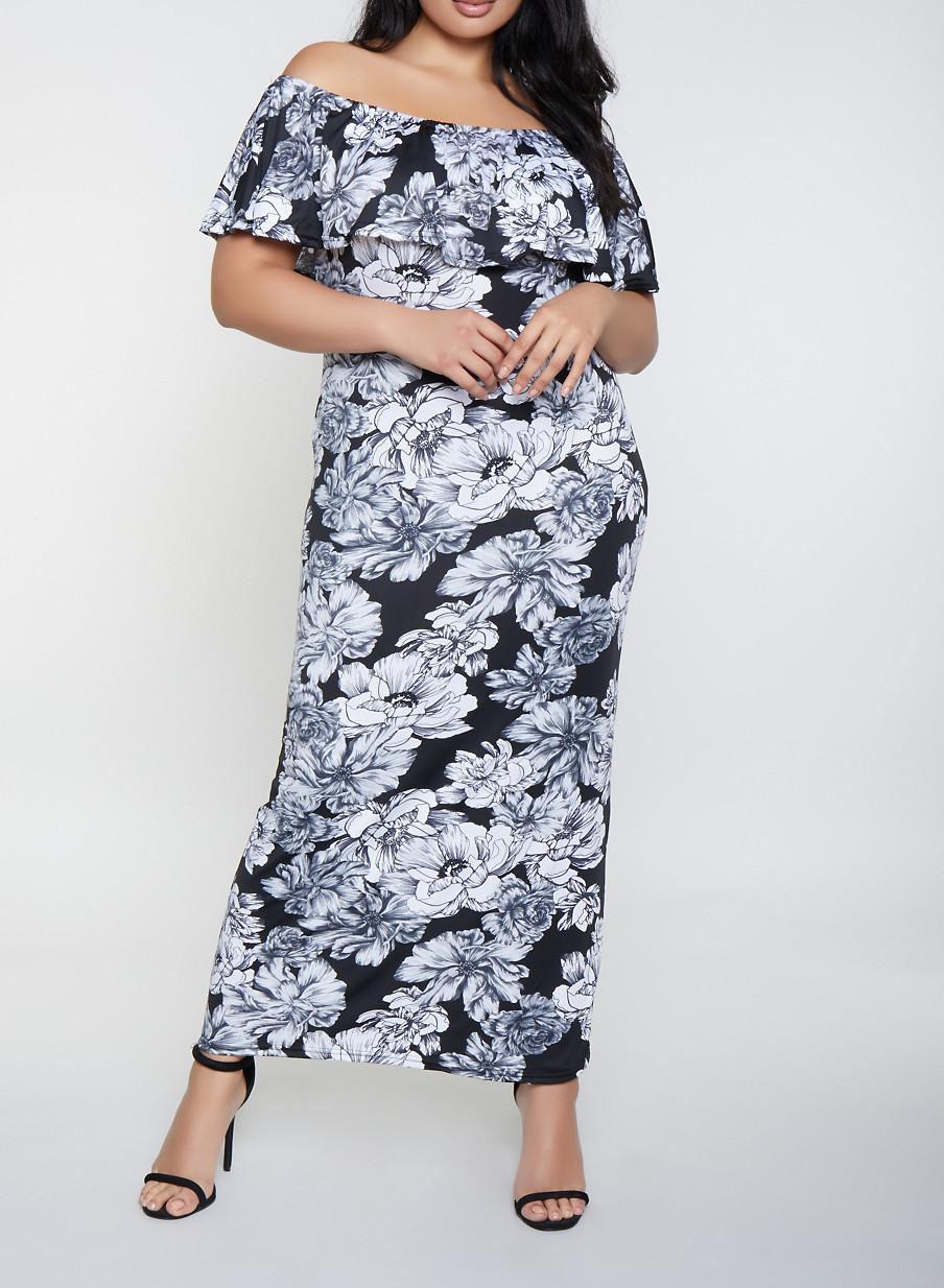 Plus Size Off the Shoulder Ruffle Floral Maxi Dress - Rainbow