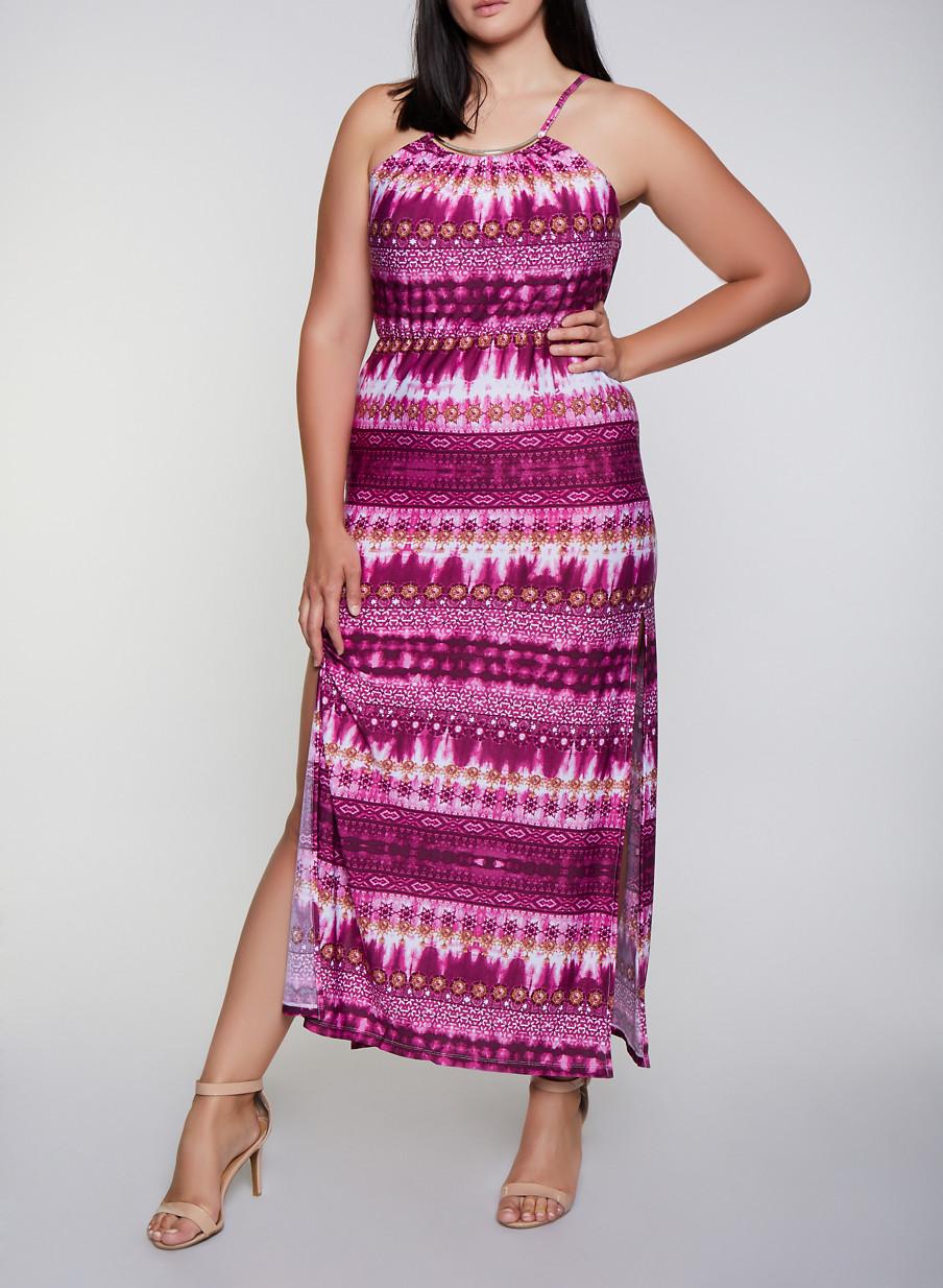 Plus Size Printed Metallic Neckline Maxi Dress