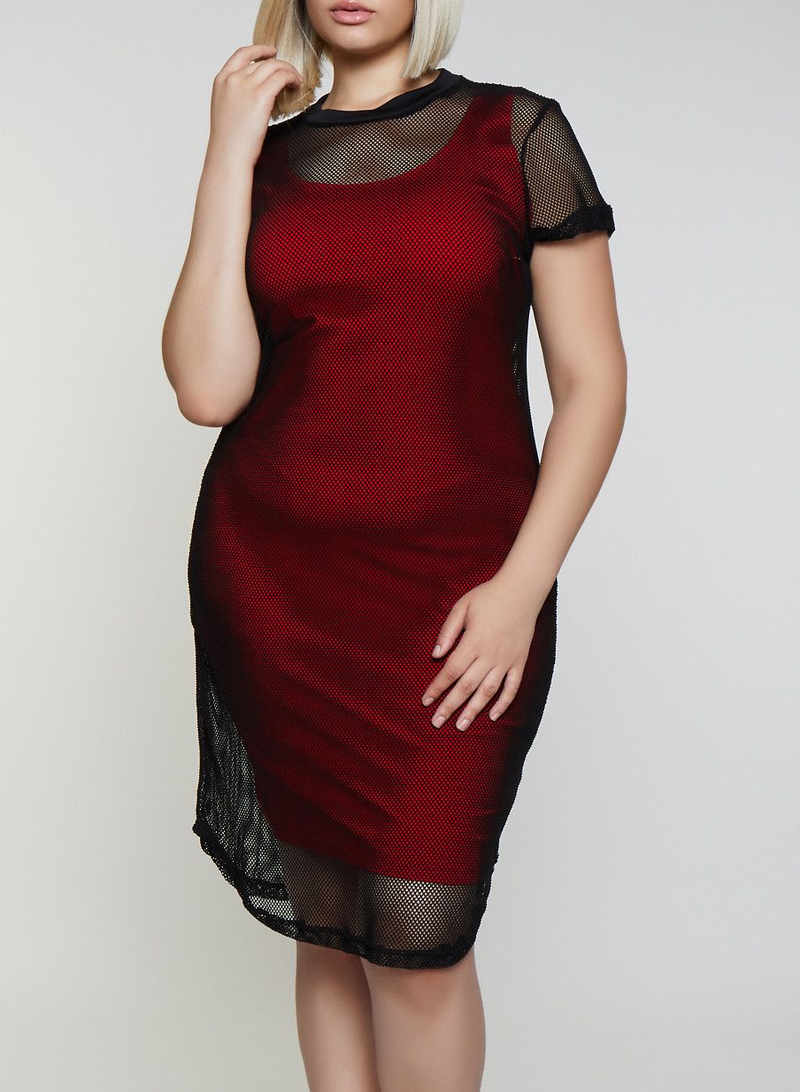 Plus Size Fishnet T Shirt Dress