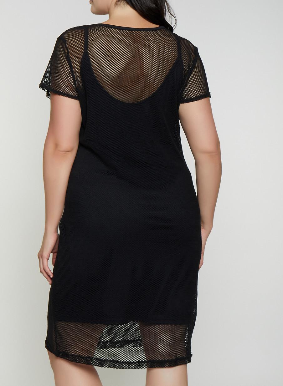 Plus Size Fishnet Midi T Shirt Dress