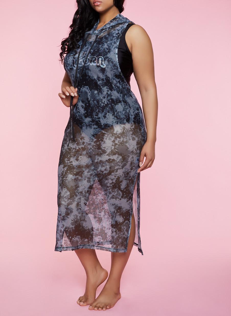 Plus Size Hooded Fishnet Tank Maxi Dress