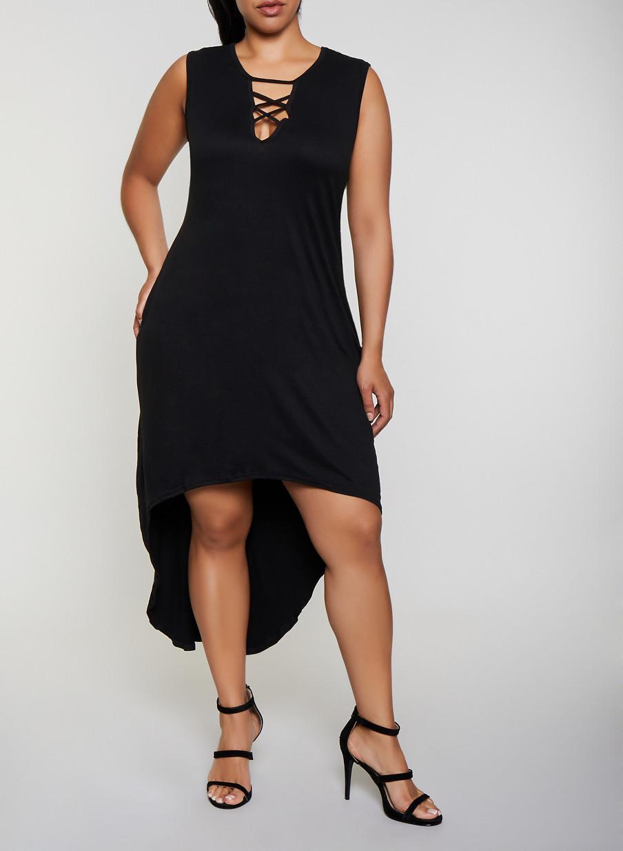 Plus Size Lace Up High Low Dress