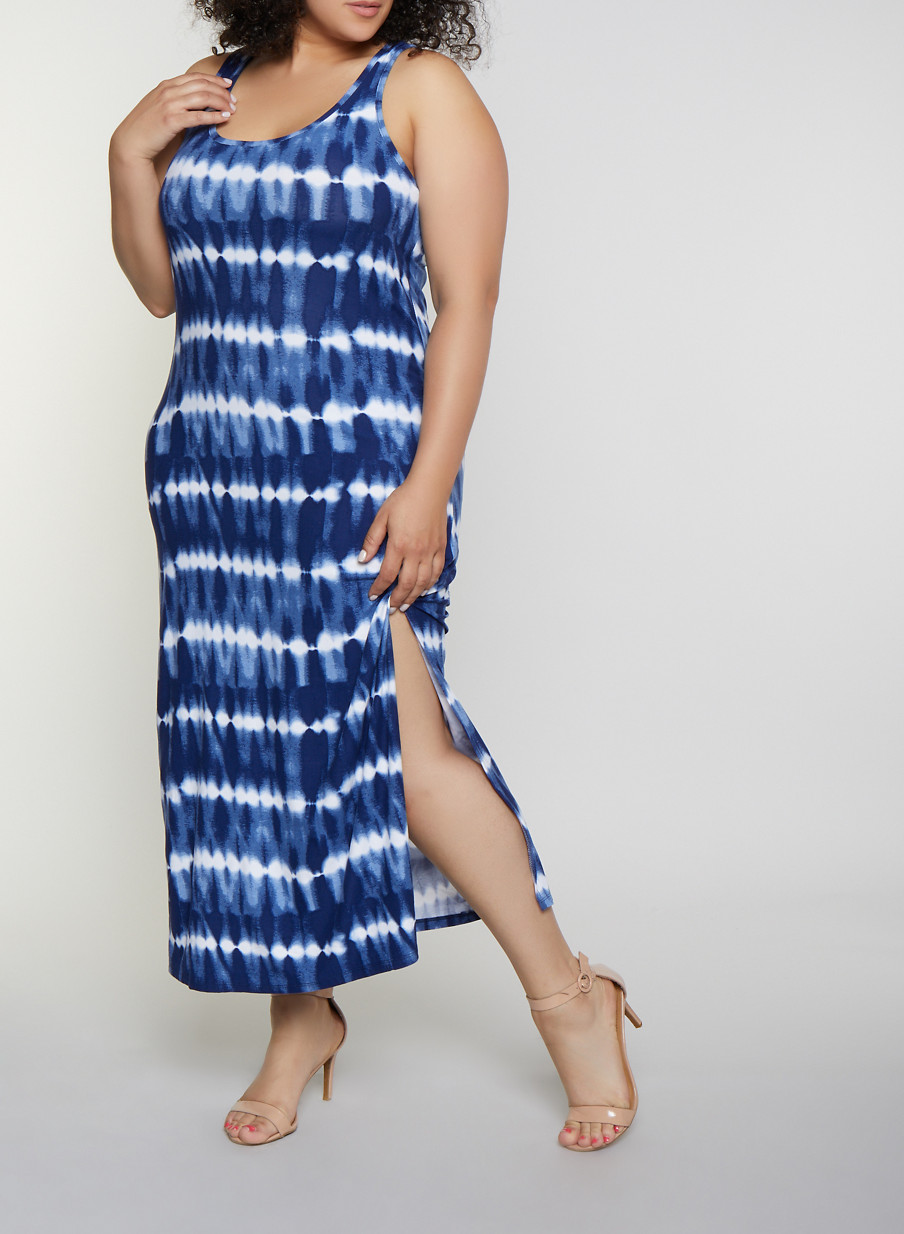 Plus Size Tie Dye Striped Racerback Tank Maxi Dress
