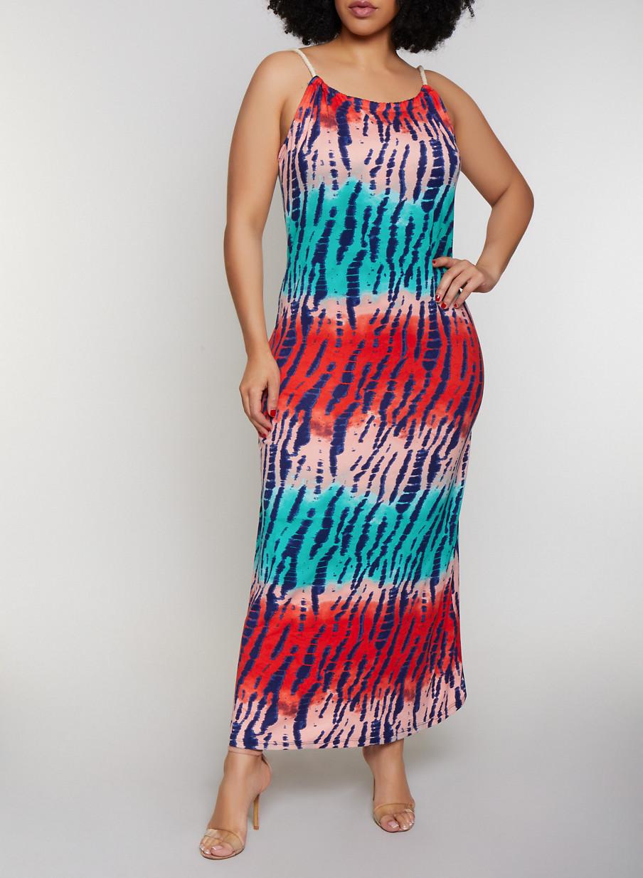 812b147766 Plus Size Braided Rope Strap Tie Dye Maxi Dress - Rainbow