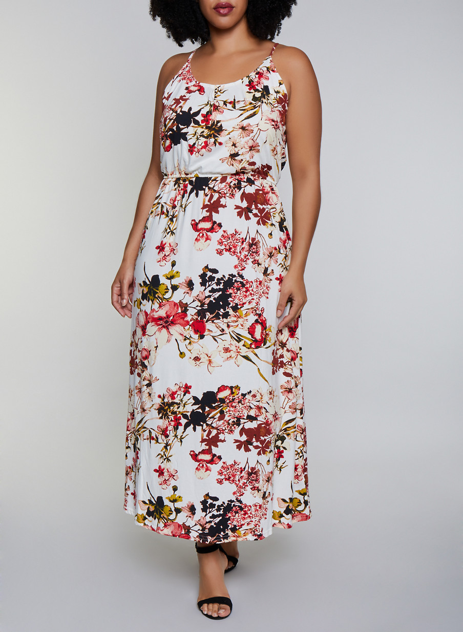 Plus Size Cinched Waist Floral Maxi Dress