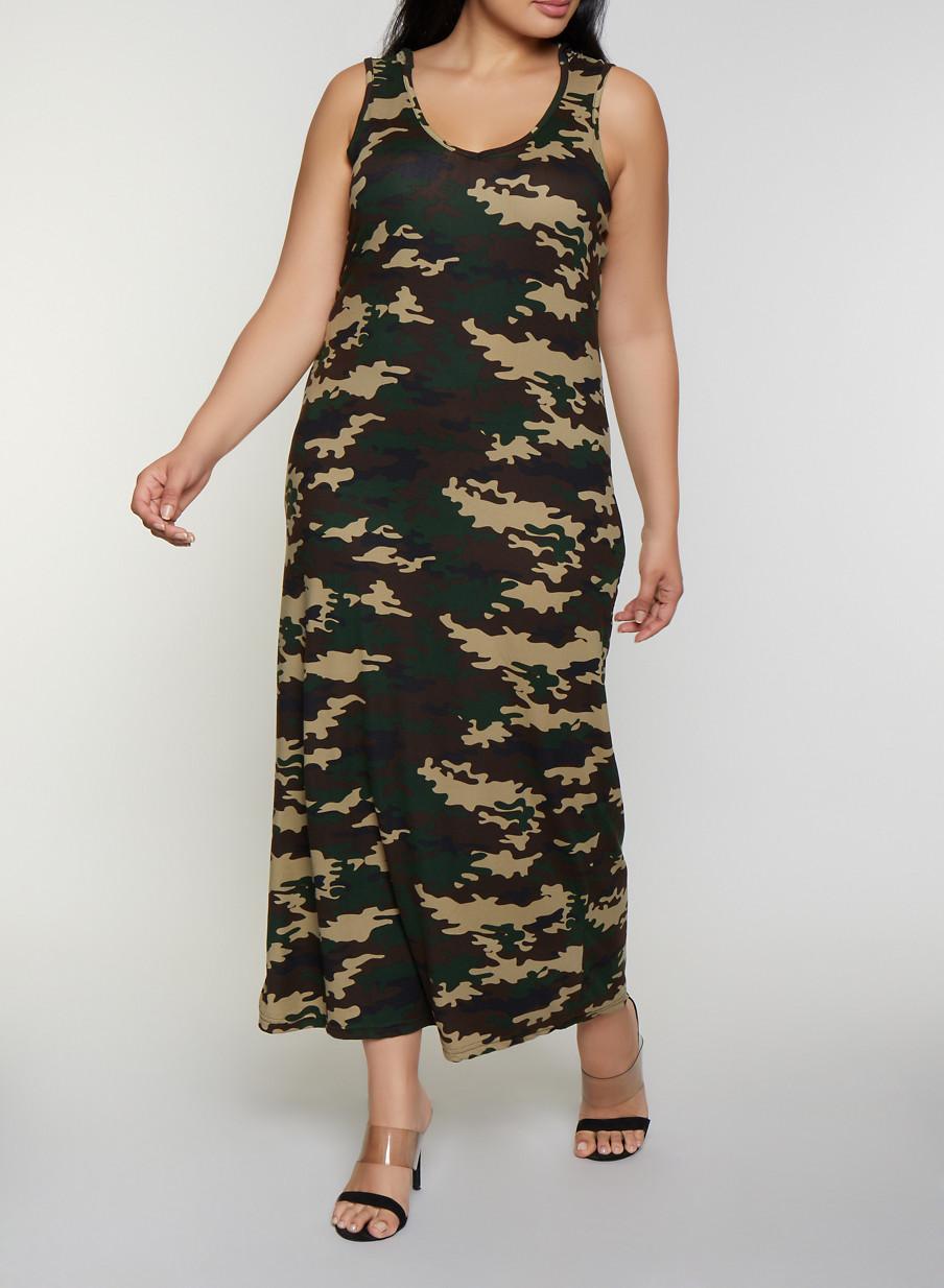 0f2b6e69e0df4 Plus Size Hooded Camo Maxi Tank Dress - Rainbow