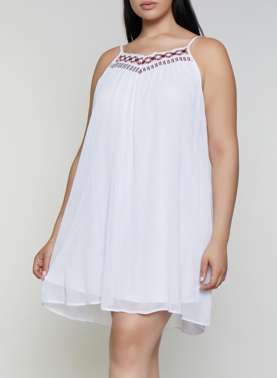 Plus Size Crochet Trim Shift Dress