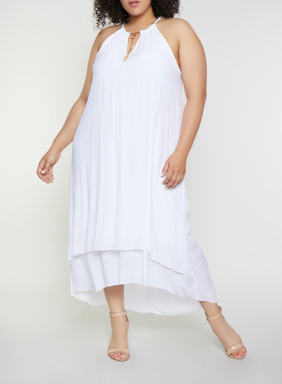 Plus Size Metallic Detail Gauze Knit High Low Dress - Rainbow