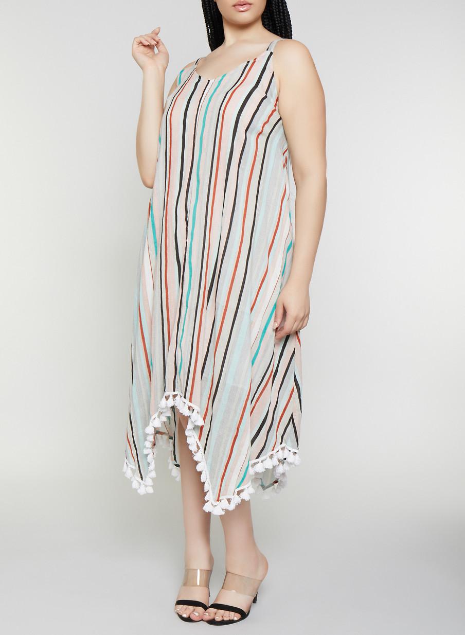 Plus Size Striped Tassel Trim Maxi Dress