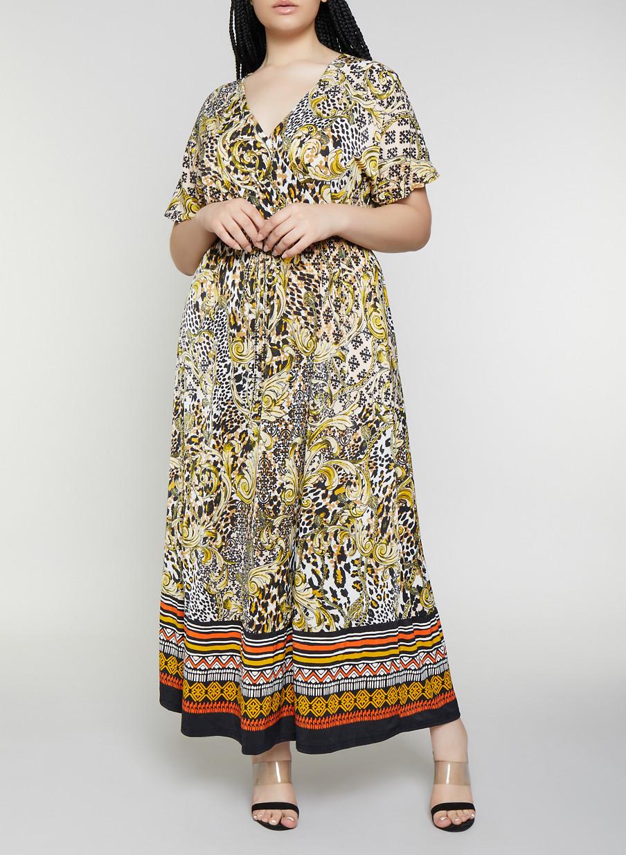 c0e313b32f Plus Size Short Sleeve Printed Faux Wrap Maxi Dress - Rainbow