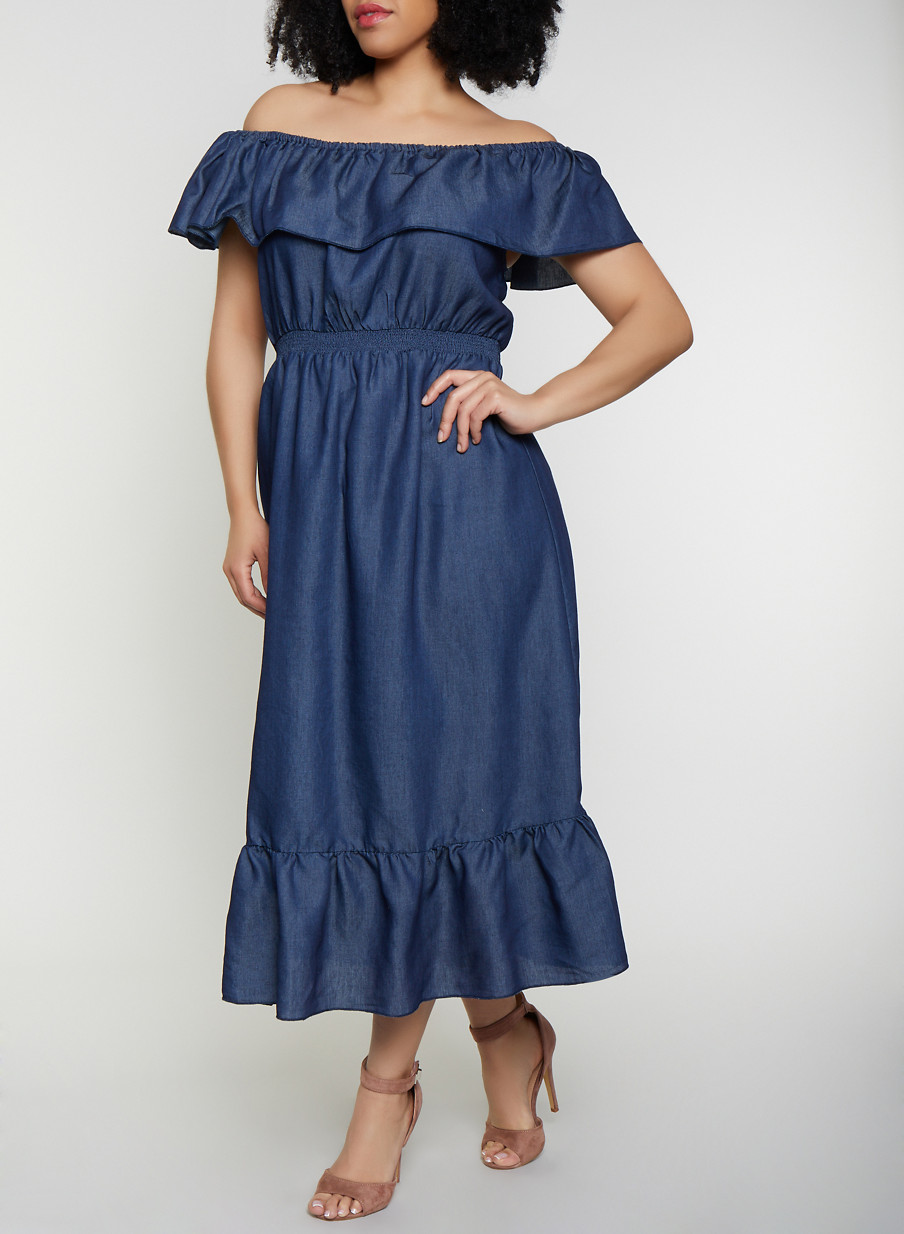 Plus Size Denim Off the Shoulder Maxi Dress - Rainbow